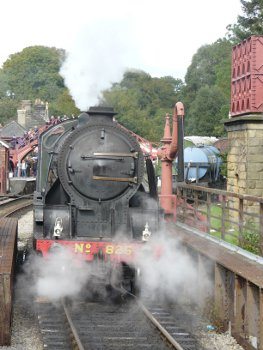 North York Moors Railway steam train arriving at station