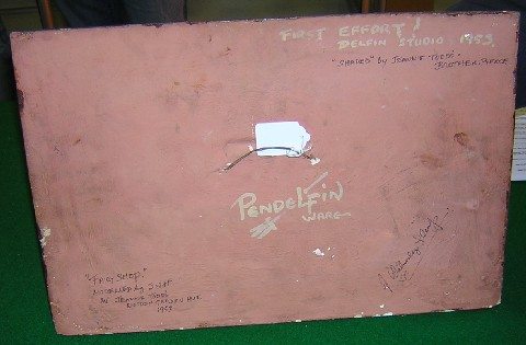 Reverse of Pendelfin Fairy Shop plaque, signed by Jean Walmsley Heap